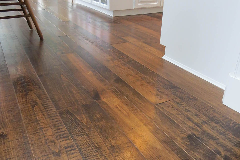 Resawn maple flooring 5 and 7 inch with white kitchen